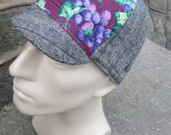 Cycling Cap -  Grapes and Pinstripes (Medium)