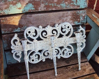 Vintage Shabby Chic Candelabra Wall Sconce Candle Holder French Provincial Repurposed Distressed Chippy