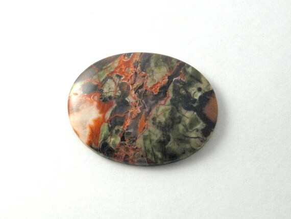 stone oval cabochon, mushroom jasper cab, calibrated cabochon, jewelers supply,, green red cab, statement ,wire wrap, bead work supply
