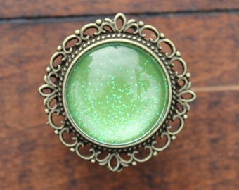Glitter Drawer Knobs Green with SILVER or BRASS Hardware (MK142 #4)