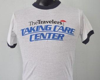 Near Burnout 80s Ringer Tee Travelers Blue White Tee Screen Stars Vintage TShirt SMALL