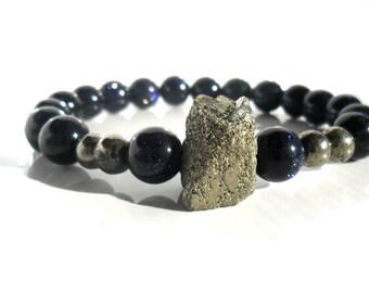 Gemstone Bracelet / Pyrite and  Blue Denim Sunstone Bracelet  /  Bracelet  Stacks /  Druzy Pyrite /  Tribal Chic Bracelet /  Beaded Bracelet