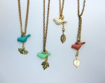 Best friend necklaces. Small bird with gold leaf charm, set of two. Coral, mint green, blue, white. Best friend gift, friendship jewelry.