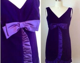 Deep purple velvet bow dress // 60's