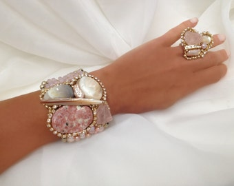 Pretty Cuff in Pink  Blush- Artisan Bracelet with Rough Rose Quartz (Spring 2016 Color Trend), & Freshwater Pearls by Sharona Nissan 4100b