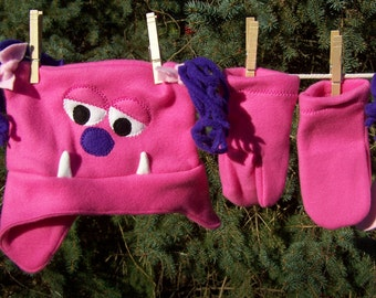 Monster Hat Hot Pink Monster Fleece Hat with Purple or Light Pink Ponytails Two Eyes Toddler Kids Child Teen Adult with Matching Mittens