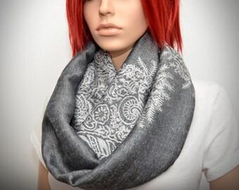 Silver Gray floral loop scarf, Gray infinity scarf, Dark gray scarf, Pashmina Infinity scarf