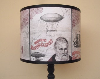 Steampunk beige lamp shade lampshade Time Travel - unique light, hot air balloon, lighting, steampunk decor, victorian decor, shabby chic