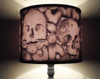 Skull lamp shade lampshade Paris Catacombs  - lighting,home decor,  halloween decor, skulls, dark art, Spooky Shades, gothic, graveyard