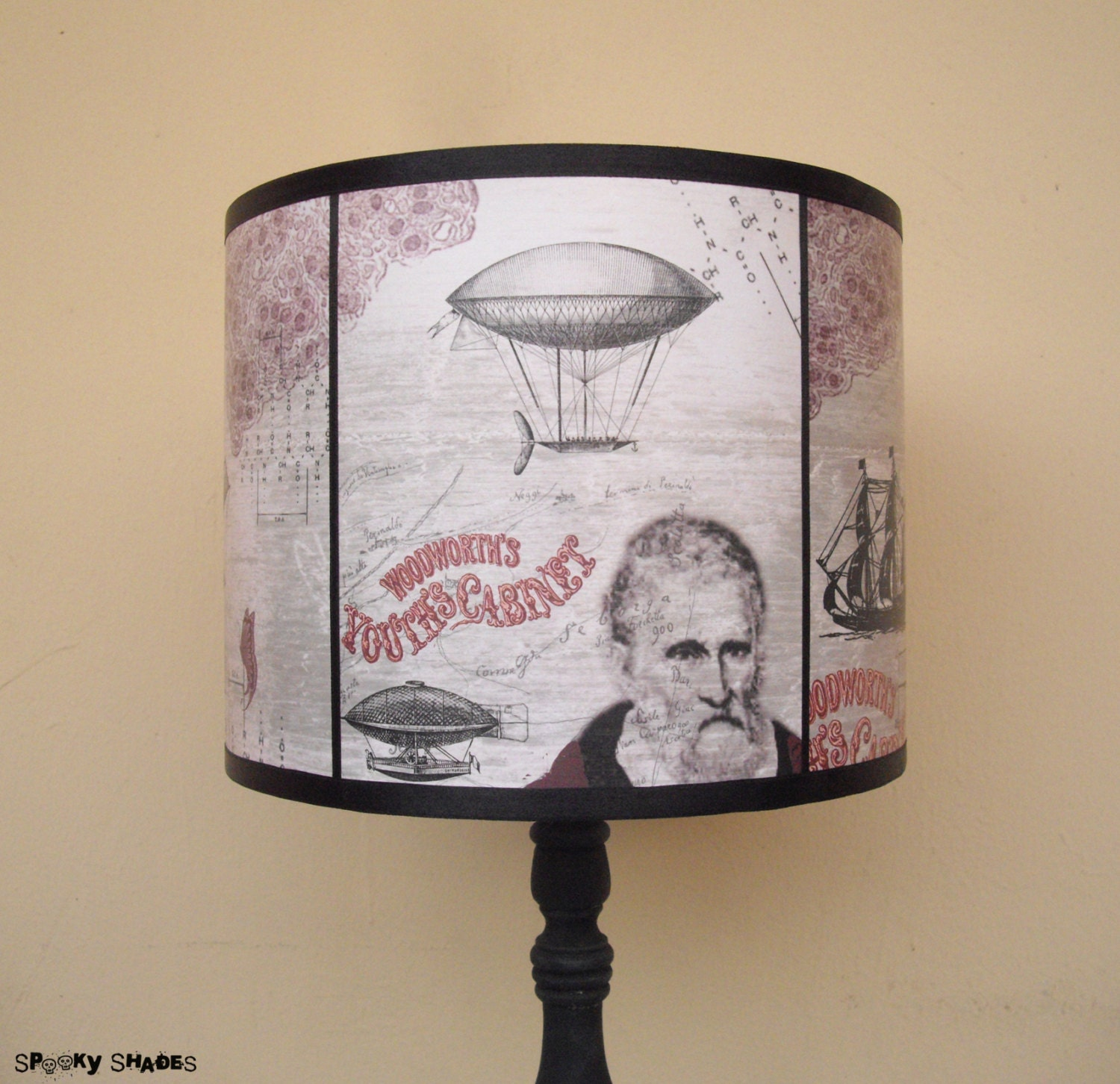 Steampunk Beige Lamp Shade Lampshade Time Travel Unique