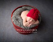 Red Baby Boy Cable Knit Newborn Hat Photo Prop Fall Fashion Winter Fashion