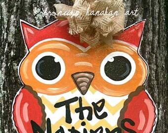 Fall Owl Door Hanger - Bronwyn Hanahan Art