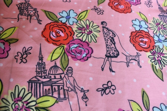 Retro Novelty Print Cotton Voile Fabric: Ladies, Dots, and Flowers