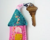 Handmade Wool Felt Key Chain or Key Fob - Felt House in Pink and Green  with Yellow and Pink Embroidered Floral  and Beaded Embellishments