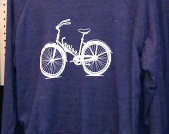 "Venice Bike Raglan Slouchy ""Sweatshirt"" American Apparel Tri-Blend Indigo Blue"