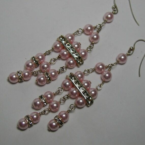 Pink Swarovski Crystal Pearl Sterling Silver Chandelier Earrings Rhinestone Art Deco Style