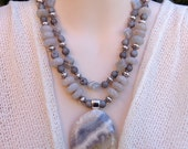 Opal and Chevron Amethyst Necklace