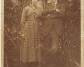 love, engagement, marriage, married couple, sepia, 1930's, vintage, Vintage Photograph Postcard
