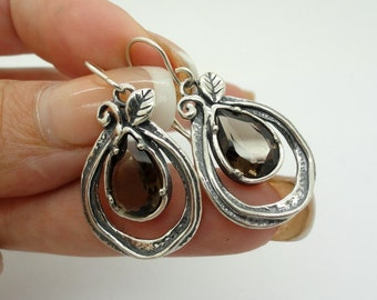 NEW Sterling Silver Elegant Drop Shape and Smoky Topaz  Earring (sp 269)