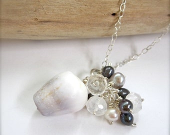 Hawaiian shell necklace with pearls - by Tidepools Jewelry, shell necklace Made in Hawaii, beachy necklace, unique shell jewelry, purple