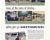 1953 ad GREYHOUND BUS travel retro public transportation express service automobilia Leave the Driving To Us to frame - Free U.S. shipping