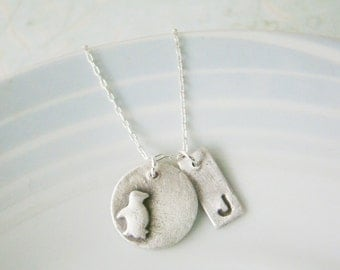 Tiny animal art clay silver necklace with initial pendant, wedding gifts, teenage daughter, for wife, bridesmaid gift, eco friendly