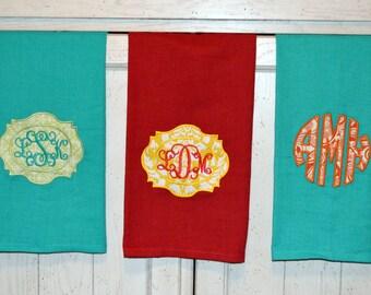 Custom Monogram Flour Sack Hand Towel (Blue, Turquoise, or Red)