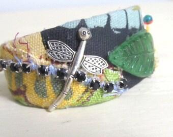 Bracelet, Cuff Bracelet, Handmade Jewelry, Fabric Cuff, Bracelet with dragonfly,  Fashion Accessory, Original Design, Gift Item, BOHO Style,