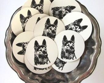 German Shepherd Dog Tags Round Gift Tags Set of 10