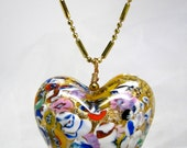 BIG Heart Necklace, Venetian Murano Glass, Klimt Style, Brass Ball Chain