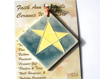 STAR AND ANGEL handmade ceramic ornament