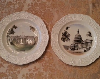 Washington DC Souvenir Collectors Plates Capitol White House 1960s