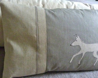 hand printed muted grey linen trotting fox cushion cover