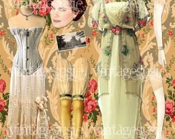 Vintage Edwardian Art Paperdoll Collage Sheet 'CORA'  DOWNTON ABBEY Digital Download