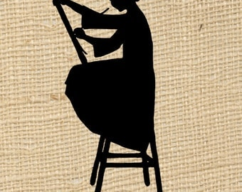 Artist Painter Silhouette Girl Digital Image Fabric Transfer Burlap Scrapbook Cards Tags Collage