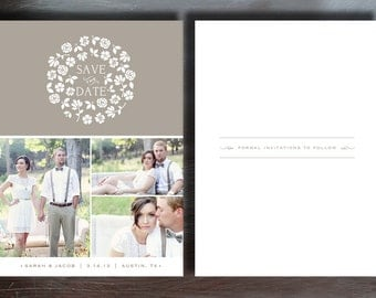 Rustic Save the Date Template for Wedding Photographers - Printable Save the Dates - INSTANT DOWNLOAD - s0004
