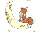 Woodland Nursery Art -- Moon Pals -- Fox and Bunny Sitting on the Moon -- Woodland Nursery Art -- Fox Art -- Children Art, Kids Wall Art