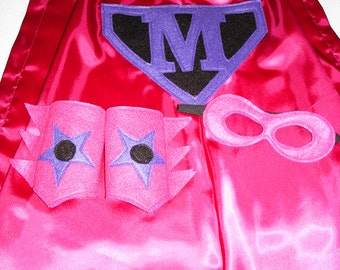Children's Custom Superhero Personalized Kids Cape Including Matching Mask, and Wrist Cuffs