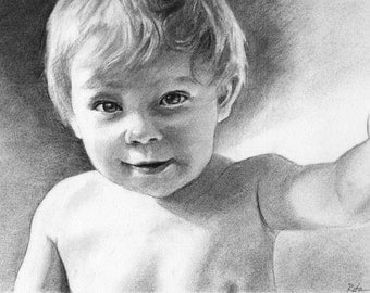 Comission custom portrait from photograph - child, pet, adult portraits in charcoal, pencil, pastels