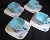 4 Retro Brookpark Modern Design Tropicana Aqua Cup & Saucer sets, 8 pieces, Square, HTF, designed by Joan Luntz,  1960s 1950s,TheRetroLife