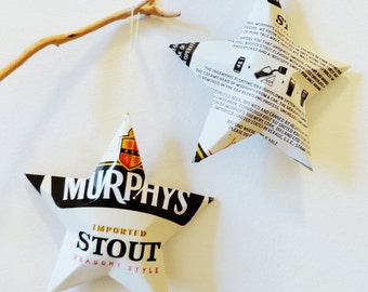 Murphy's Stout Draught Style Beer Stars, Christmas Ornaments, Aluminum Can, Upcycled
