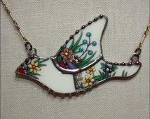 Lenox Rutledge Mosaic Bird Broken China Jewelry Pendant Necklace by robinsrelics