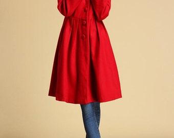 Red wool coat winter jacket warm coat  (328)