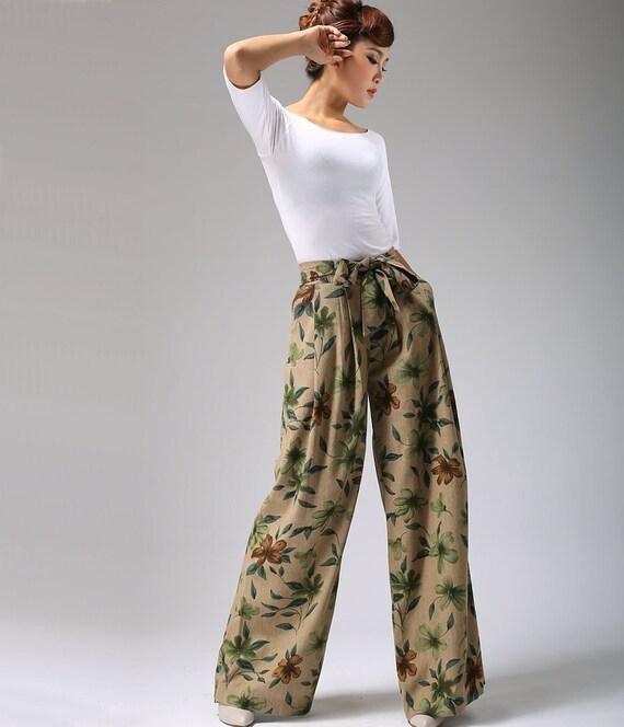 floral pants, Wide Leg pants, wide leg trousers, linen pants, Custom pants, Linen pants woman (692)