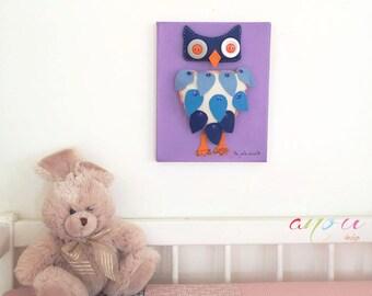 Kids canvas art, Children Decor Art, Wall Art for Nursery, Purple Owl in Felt, Canvas 8 x 10 inch