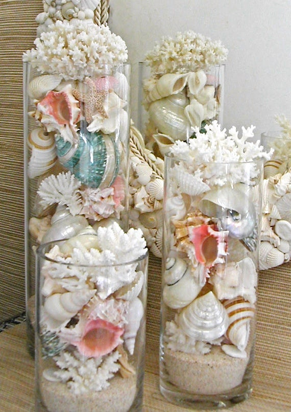 Beach Decor Seashells Coral and Starfish in by SeashellCollection