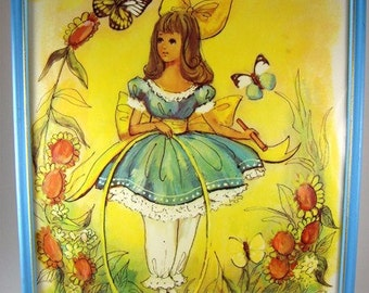 Four Piece Framed Litho Print Collection, Girl in English Garden with Butterfly, Spring, Flowers, M Hartnett, Framed, Girl's Room, Cottage