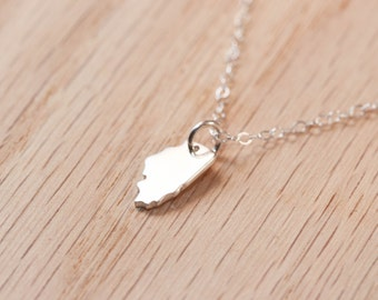 Illinois State Necklace Sterling Silver Tiny Dainty