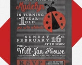 Lady Bug Birthday Party Invite -- Custom Printable PDF, 1st Birthday, Little Lady, Chalkboard Invitation, Red and Black