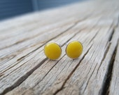 Bright Yellow Small Sterling Silver Circle Post Round Earrings - Yellow 6mm studs